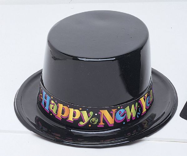 Black New Years Plastic Top Hat